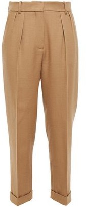 Victoria Beckham Cropped Pleated Wool-canvas Straight-leg Pants