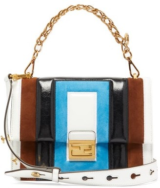 Fendi Kan U Medium Leather And Suede Cross-body Bag - Womens - Multi