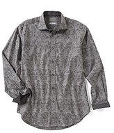 Thomas Dean Jacquard Long-Sleeve Woven Shirt