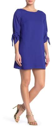 KENEDIK Tie Sleeve Back Cutout Shift Dress