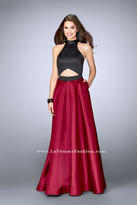 La Femme Halter Style Two Toned Mikado Prom Dress 24135