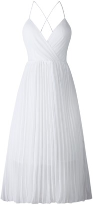Goodnight Macaroon 'Sienna' V-neck Open Back Pleated Maxi Dress (2 Colors)