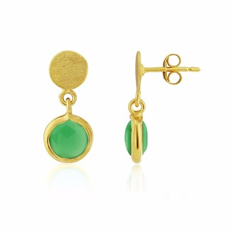 Auree Jewellery Salina Gold Vermeil Disc & Chrysoprase Green Earrings
