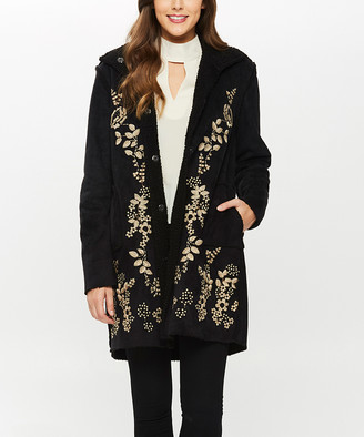 Paparazzi Women's Car Coats BLACK - Black Floral Embroidered Faux Suede Coat - Women