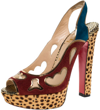 Christian Louboutin Suede Leather And Mesh Peep Toe Slingback Platform Sandals Size 38.5