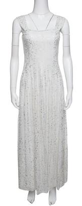 Diane von Furstenberg Off White Flutter Foil Lillie Maxi Dress S