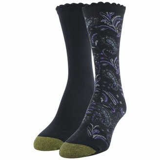 Gold Toe Women's Little Black Paisley and Flat Knit Crew Socks 2 Pairs Shoe Size: 6-9