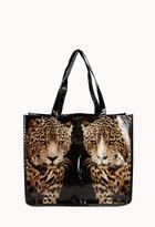 Forever 21 Cheetah Glossy Shopper Tote