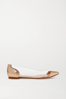 Gianvito Rossi Metallic Leather And Pvc Point-toe Flats - Gold
