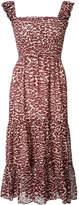 Piamita pleated trim leopard print dress