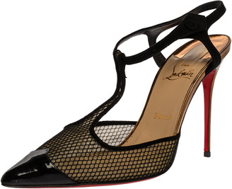 Christian Louboutin Black Suede And Mesh 'T Cool' Ankle Strap Sandals Size 41