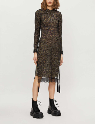 AllSaints Kiara layered lace-trimmed leopard-print woven midi dress