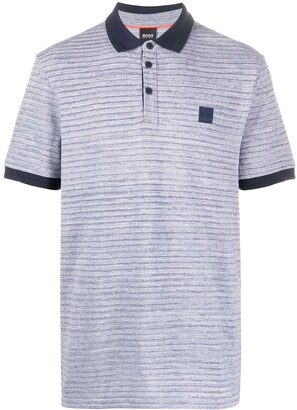 HUGO BOSS Striped Logo Patch Polo Shirt