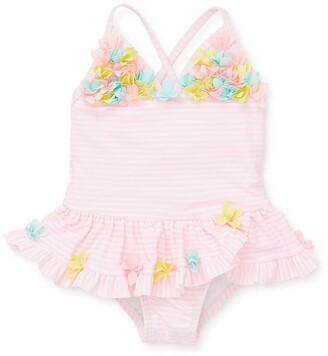 Little Me 3D Floral Applique Swimsuit