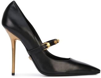Versace Medusa Strap Gold Heel Pumps