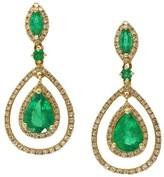 Effy Jewelry Effy Brasilica 14K Yellow Gold Emerald and Diamond Earrings, 2.88 TCW