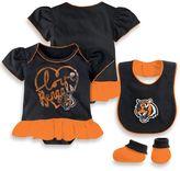 NFL Cincinnati Bengals Size 24M 3-Piece Girl Creeper Bib and Bootie Set