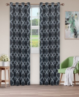 "Superior Soft Quality Woven, Bohemian Trellis Blackout Thermal Grommet Curtain Panel Pair, Set of 2, 52"" x 84"""