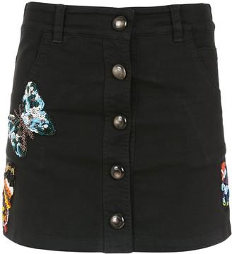 Andrea Bogosian Embroidered Denim Skirt