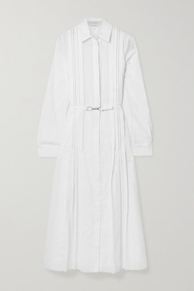 Gabriela Hearst Vera Belted Pintucked Cotton-voile Midi Shirt Dress - White