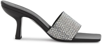 BY FAR Dylan 75 crystal-embellished leather mules