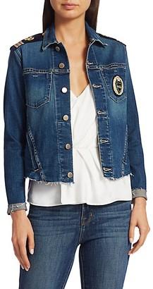 L'Agence Janelle Slim-Fit Embroidered Crest Military Denim Jacket