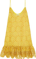 Alexis Clement fluted crocheted cotton mini dress