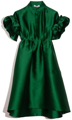 Dice Kayek Collared Ruffle Sleeve Dress in Green