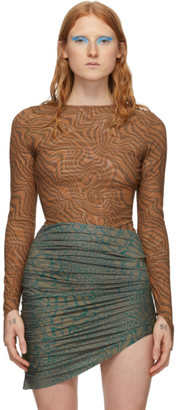 MAISIE WILEN Brown and Taupe Patterned Bodysuit