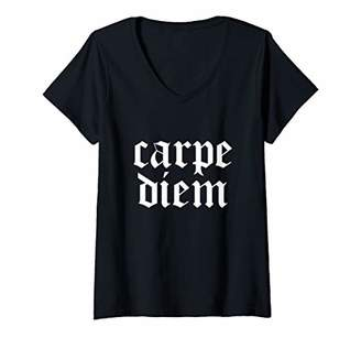 Womens Carpe Diem - Seize The Day - Funny Simple Text Style V-Neck T-Shirt
