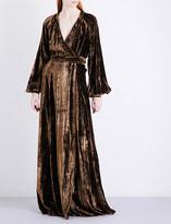 Co Metallic crinkled-velvet maxi dress