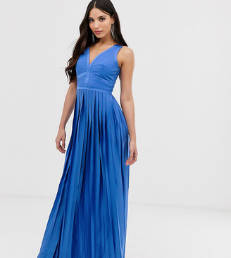 Little Mistress Tall plunge front pleated maxi dress-Blue