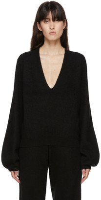 Frenckenberger Black Cashmere Mini Deep V-Neck Sweater
