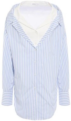 ADEAM Cold-shoulder Layered Striped Cotton Oxford Shirt