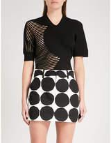 Junya Watanabe Striped-panel wool-blend top