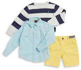 Nautica Boys 2-7 Striped Sweater, Sportshirt and Shorts Set