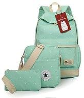 Moolecole Canvas Backpack Shoulder Bag Messenger Bag Purse 3pcs Set Mint Green