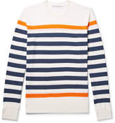Orlebar Brown Lucas Slim-fit Striped Merino Wool T-shirt - White