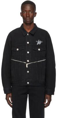 we11done Black Denim WD Logo Zipper Jacket