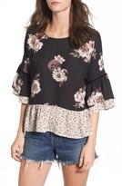 BP Women's Remix Floral Peplum Top