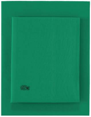 Lacoste Twin Washed Percale Sheet Set - Green