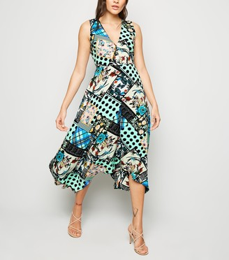 New Look AX Paris Satin Patchwork Midi Dress