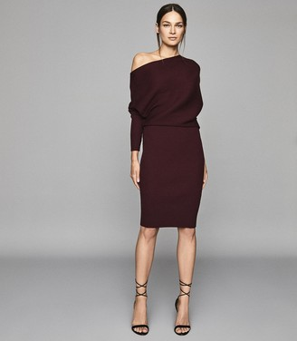 Reiss Lara - Off-the-shoulder Knitted Dress in Pomegranate