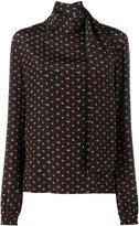 Saint Laurent micro heart and lightning bolt print blouse