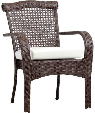 Bay Isle Home South Perth Stacking Patio Dining Chair with Cushion Color: Sand