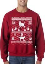 Crazy Dog T-shirts Crazy Dog Tshirts 8 Bit Cat Butt Ugly Christmas Holiday Unisex Crew Neck Sweatshirt