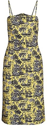 STAUD Basset Paradise Print Midi Dress