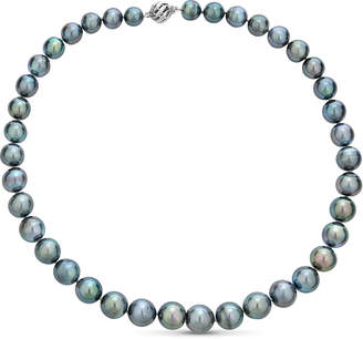 BELPEARL Classic 14k White Gold Gray Tahitian Pearl Necklace, 9-12mm