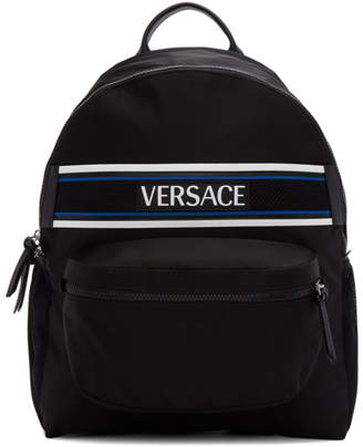 Versace Black Nylon Logo Backpack