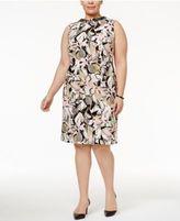 Kasper Plus Size Embellished Floral-Print Sheath Dress